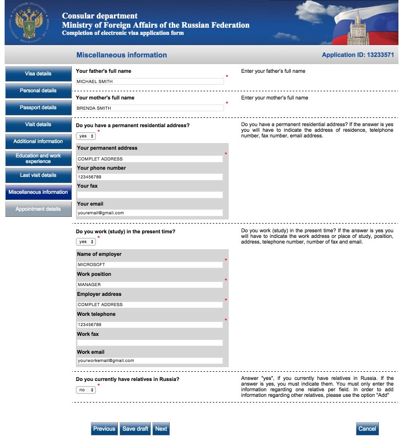 Visa application form Russia - USA Citizens 12