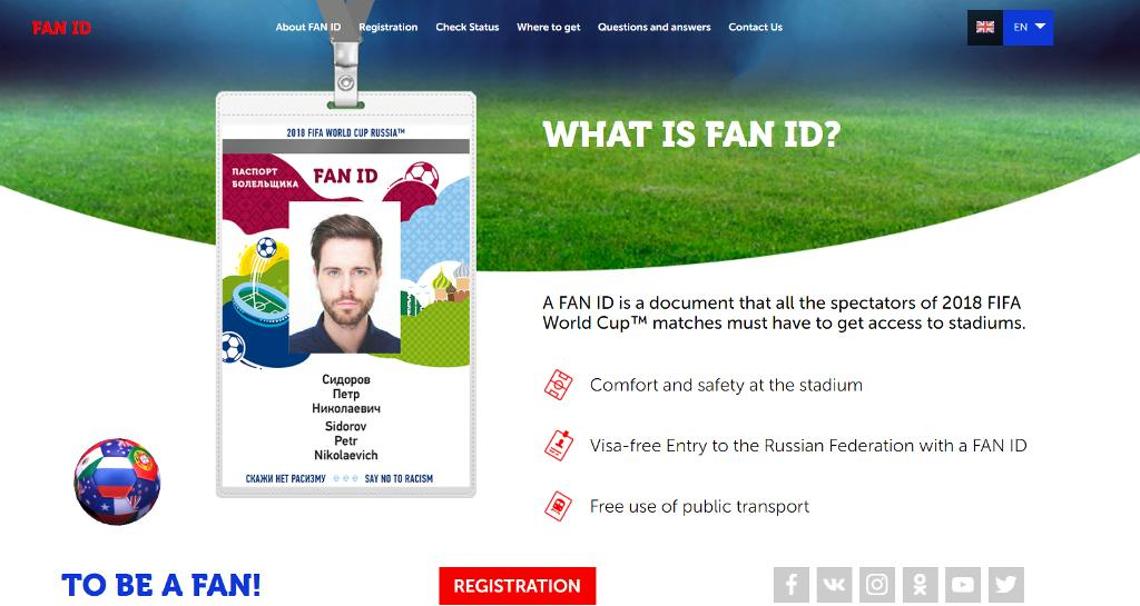 Fan ID 2018 Russia World Cup 1