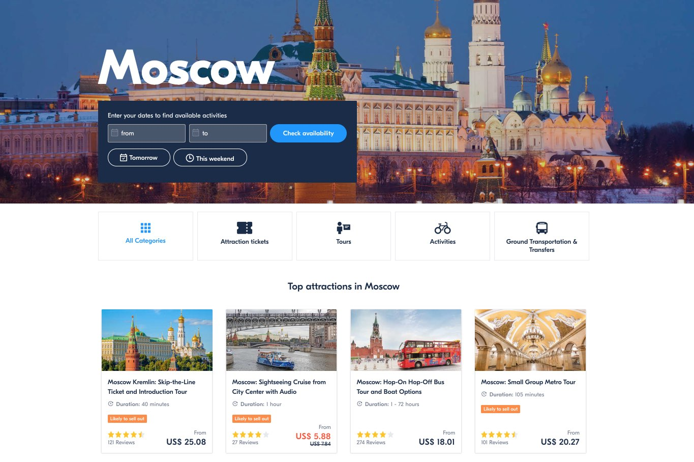 Top Tours and Activities in Russia and Moscow