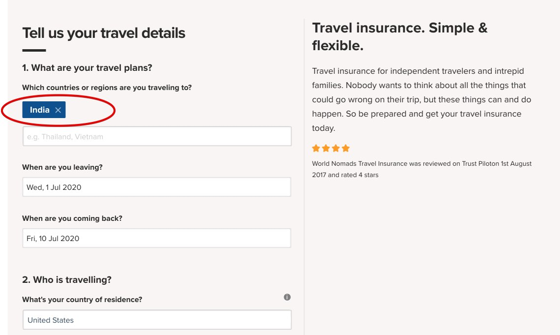 Travel Insurance to India