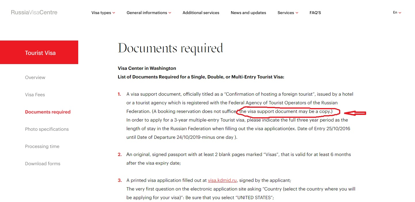 Russia Visa Center in USA - Visa support document may be a copy