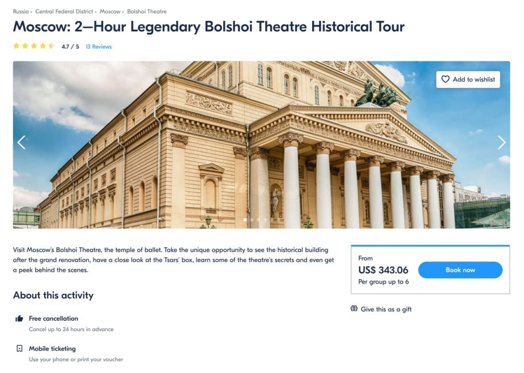 Moscow 2–Hour Legendary Bolshoi Theatre Historical Tour - GetYourGuide