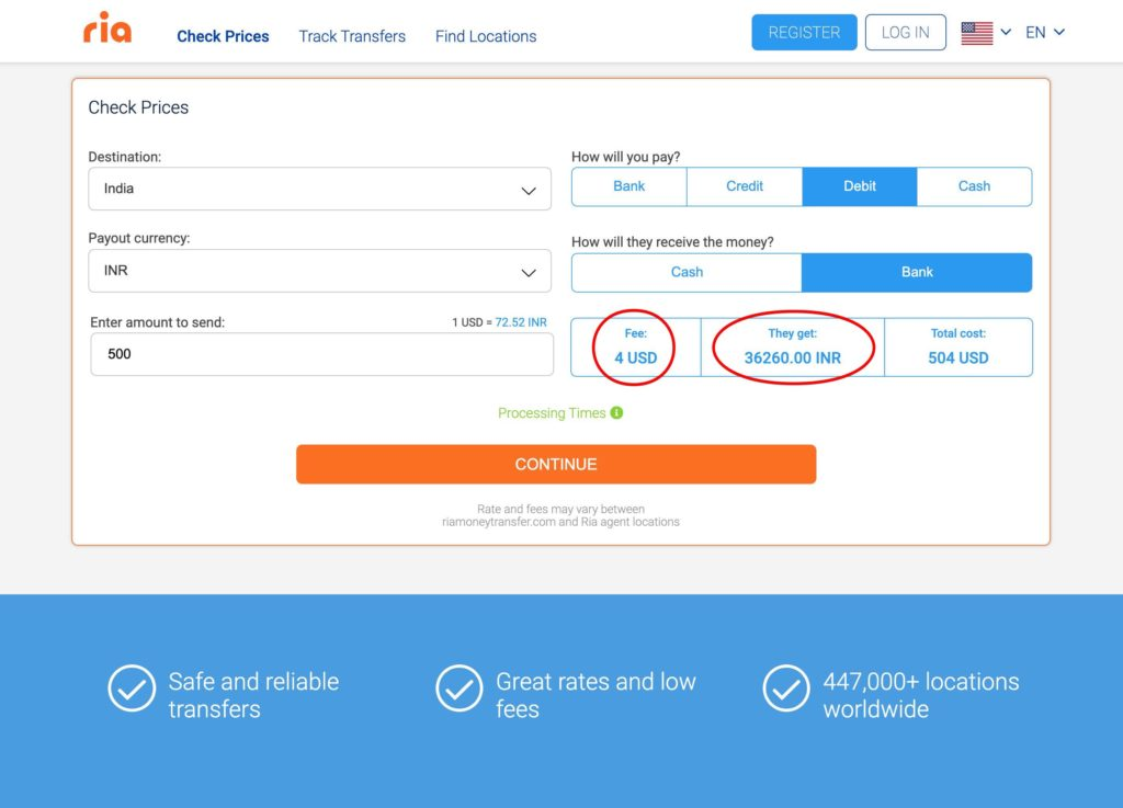 Send money from US to India with RiaMoneyTransfer