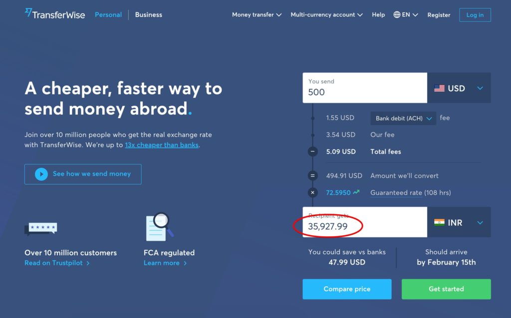 Send money from US to India with TransferWise