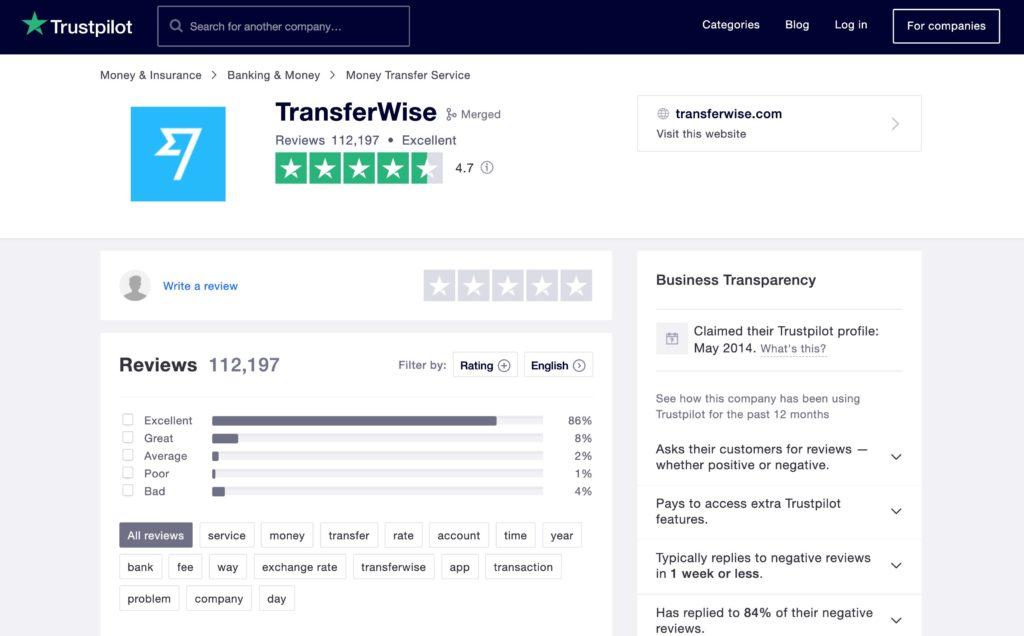 TransferWise reviews trustpilot